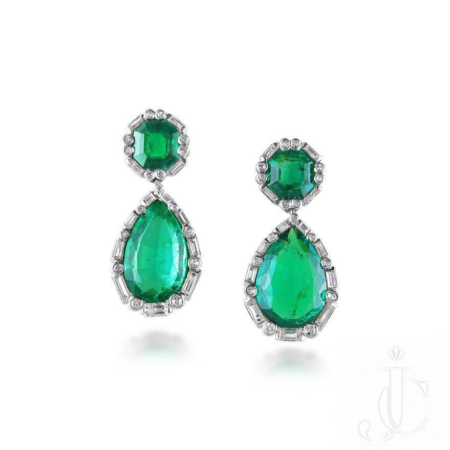 Pair of Colombian Emerald and Diamond Earrings