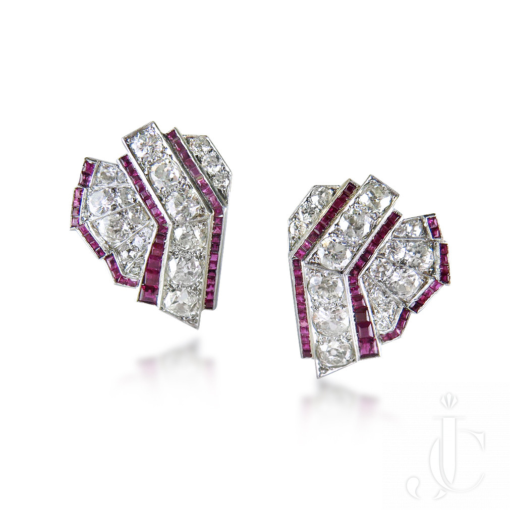 Pair of Art Deco Ruby and Diamond Earclips/Double Clip Brooch