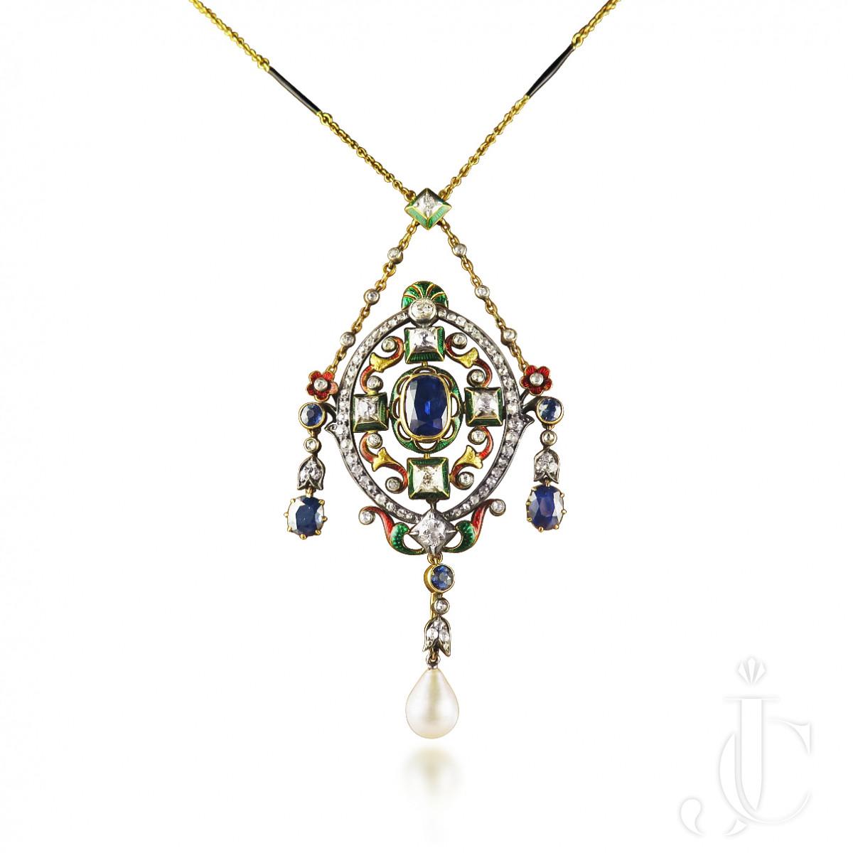 Antique Gem-Set Holbeinesque  / Renaissance Revival Necklace