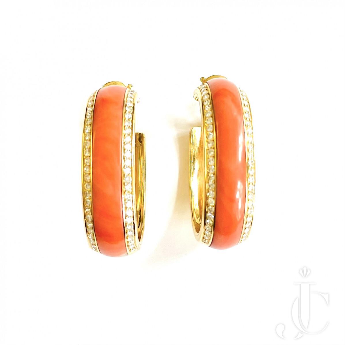 Piaget Coral Diamond Creoles Ear Rings