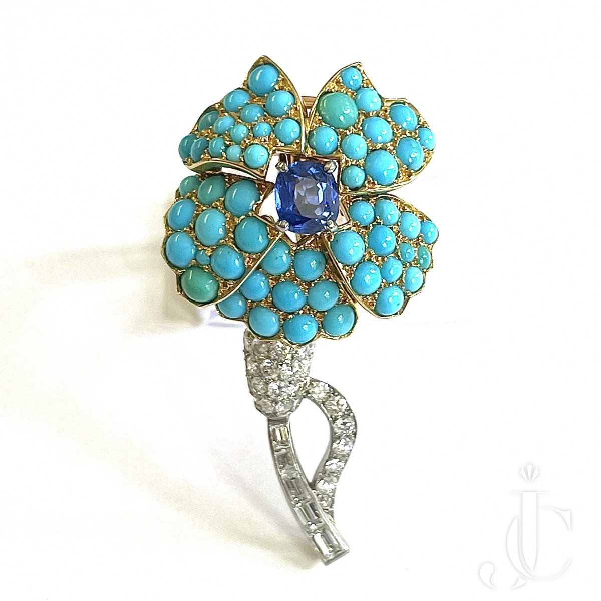 Cartier Turquoise Sapphire Brooch