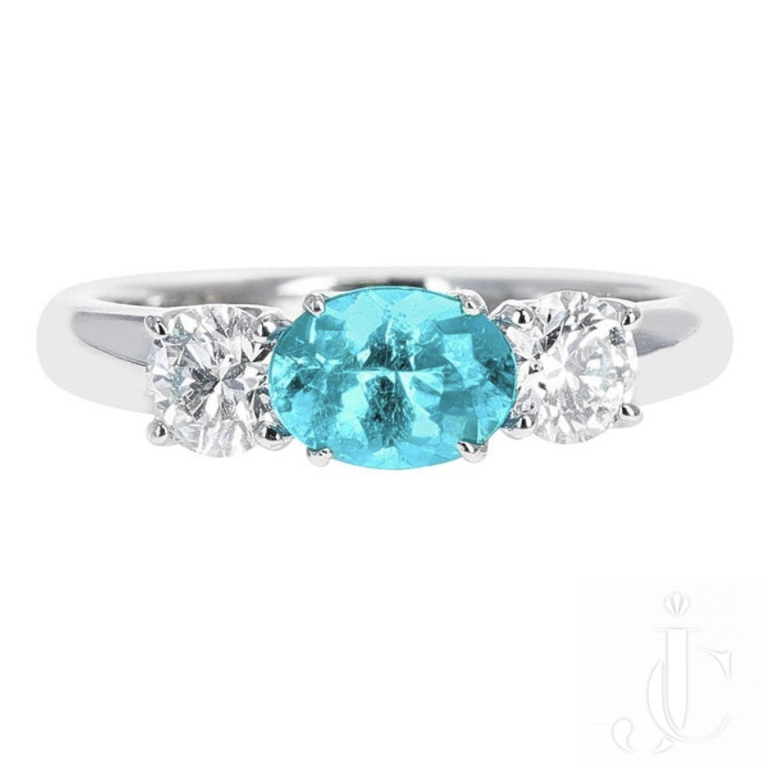 Brazilian Paraiba ( AGL) platinum ring with Diamonds