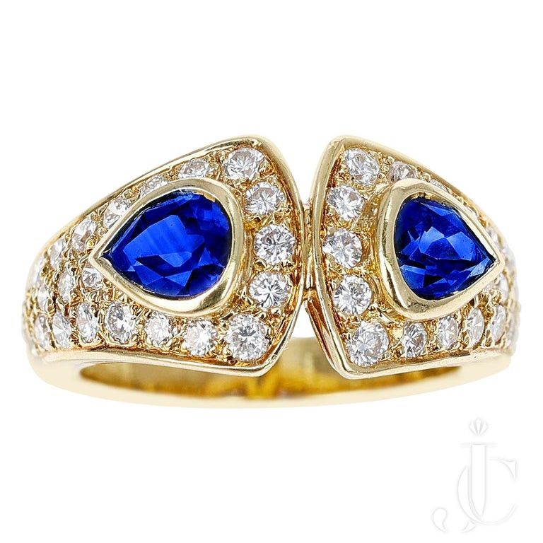 Van Cleef & Arpels Double Pear Shape Sapphire and Diamond Ring, 18K Yellow Gold