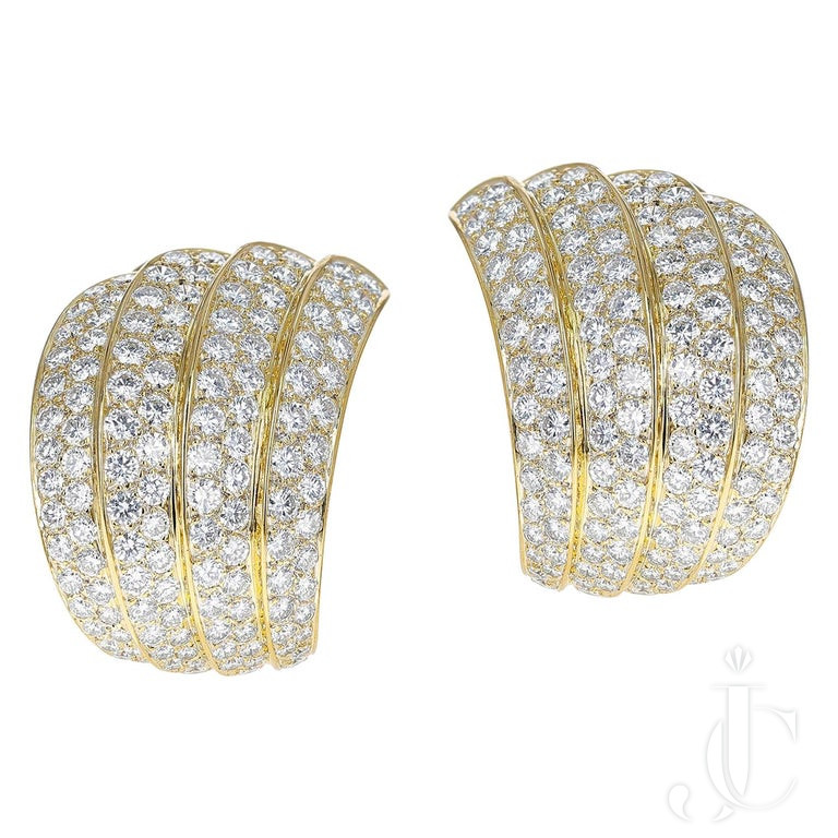 Van Cleef & Arpels Four Curve Cocktail Earrings with approx. 12 Ct. Diamonds, 18k Yellow