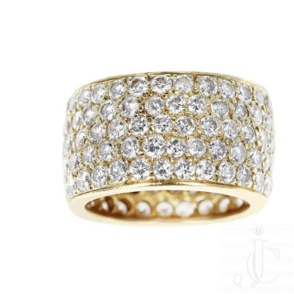 Van Cleef and Arpels 5 row 6.75 carats Diamond Band, signed and numbered, Ring Size 6.50