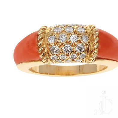 Van Cleef & Arpels Coral and 7 Row Diamond Stacking Philippine Ring, 18K Yellow