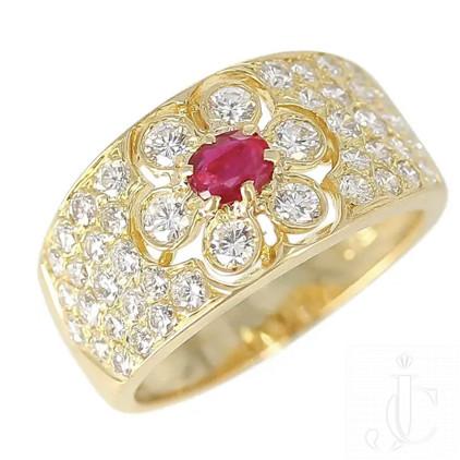 Van Cleef & Arpels Floral Ruby and Diamond Ring, 18 Karat