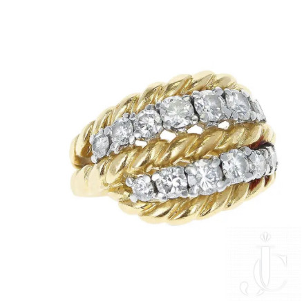 Van Cleef and Arpels, size 3, 18 KT YG and Diamond ring, Signed and Made in France.