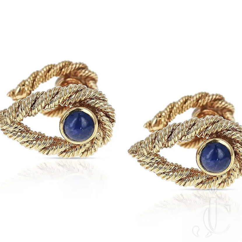 Van Cleef & Arpels Textured Blue Sapphire Cabochon Cufflinks, 18k Yellow Gold