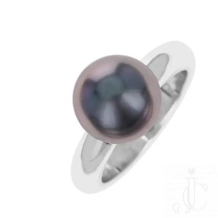 Cartier Gray Pearl Ring, 18 Karat White Gold