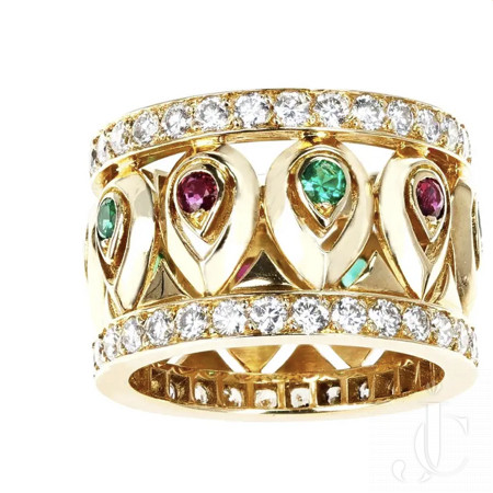 French Cartier Ruby and Emerald with Diamond Border Band, 18K with Certificate