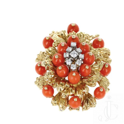 Cartier Coral, Diamonds, and 18 Karat Gold Brooch and Pendant