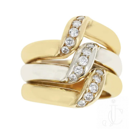 Cartier Tri-Color Elevated Ring with Diamonds, 18K Rose, White, Yellow Gold