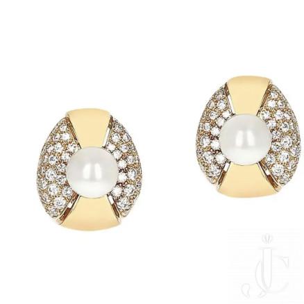 Cartier Pearl and Diamond Oval-Shape Earrings, 18 Karat Yellow Gold