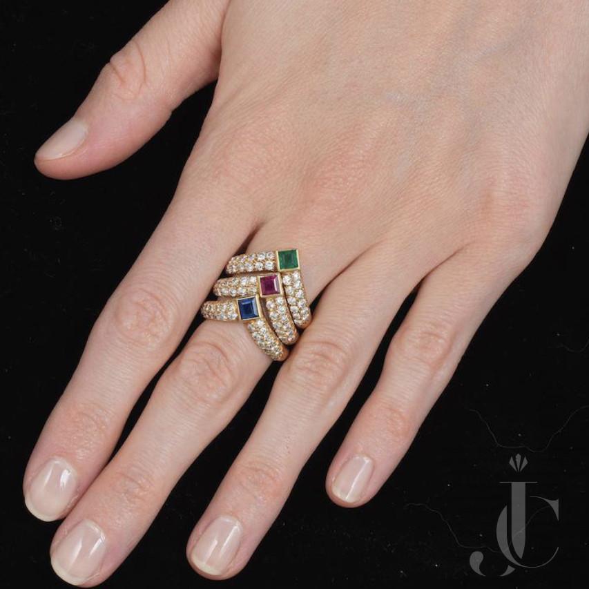 Van Cleef& Arpels set of 3 Rings in Ruby, Sapphire, Emerald  with Diamonds