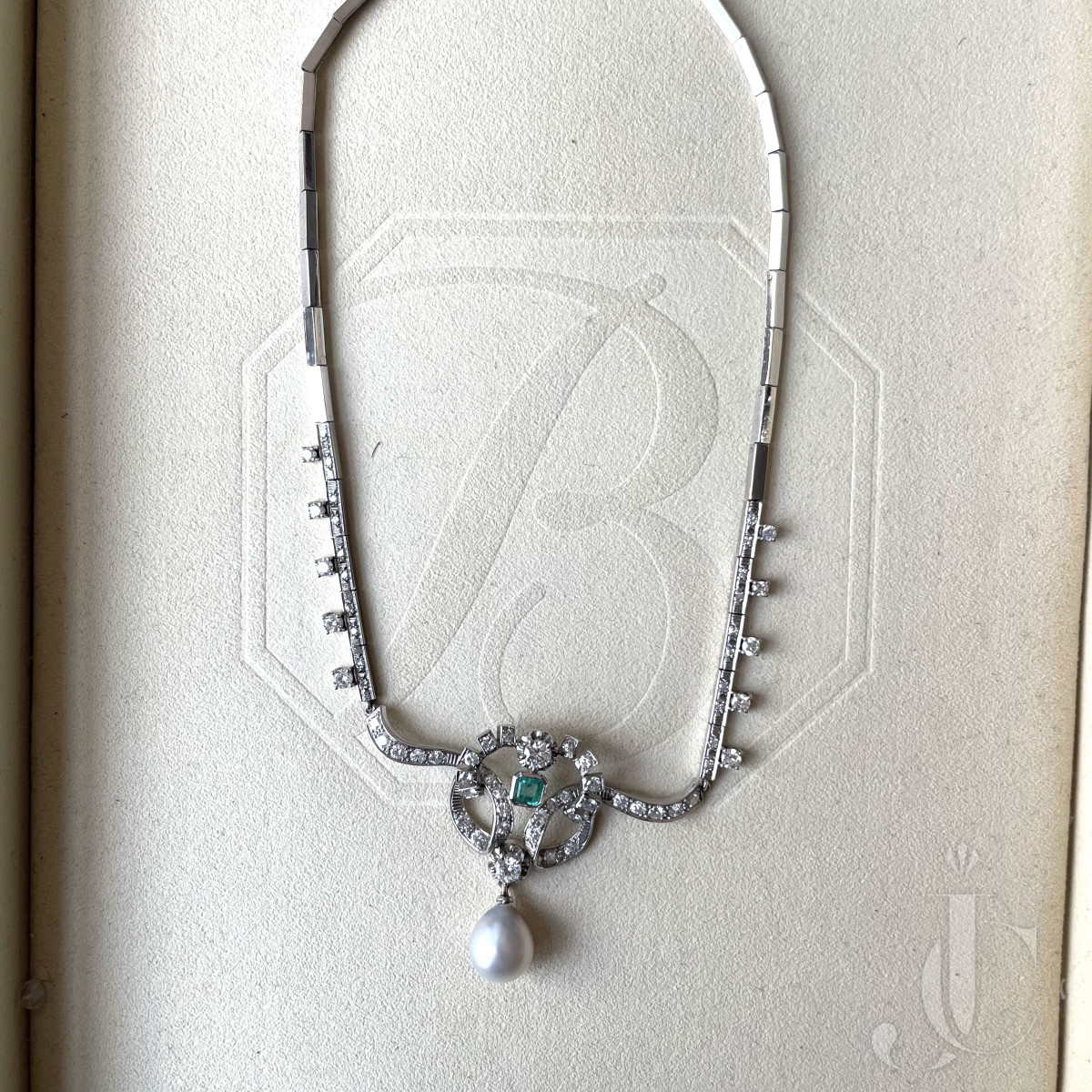 Large Natural Pearl Drop in18 KT gold diamond necklace with little emeralds