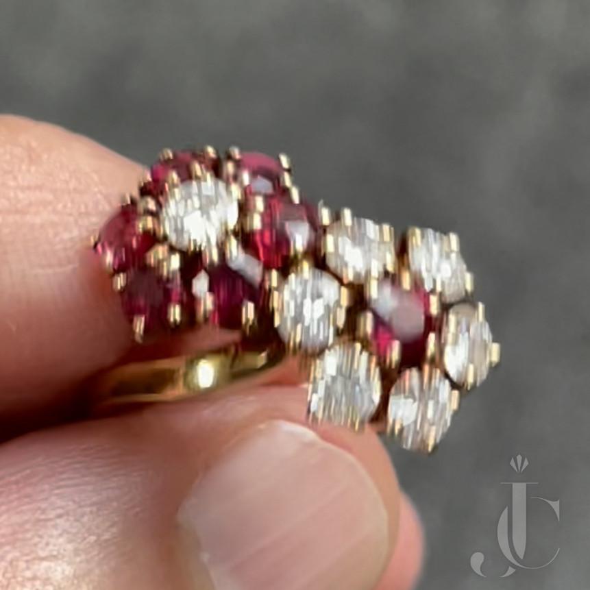 Van Cleef & Arpels Beautiful Double Fleurette Ruby and Diamond Ring in 18 KT YG.