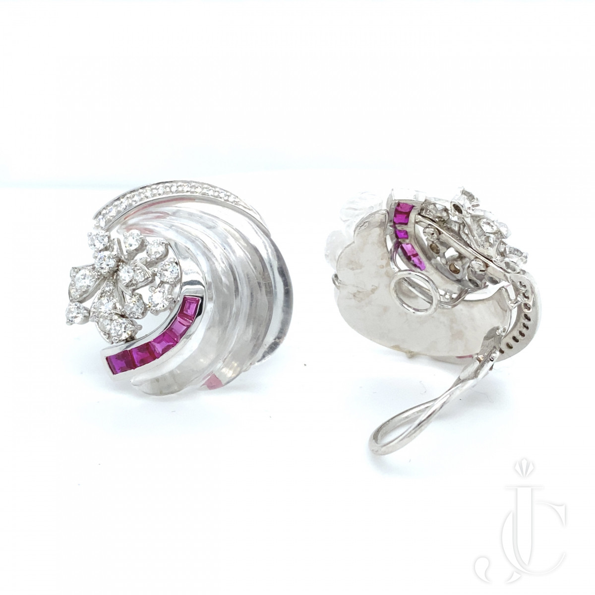 Rock Crystal Ruby Earrings