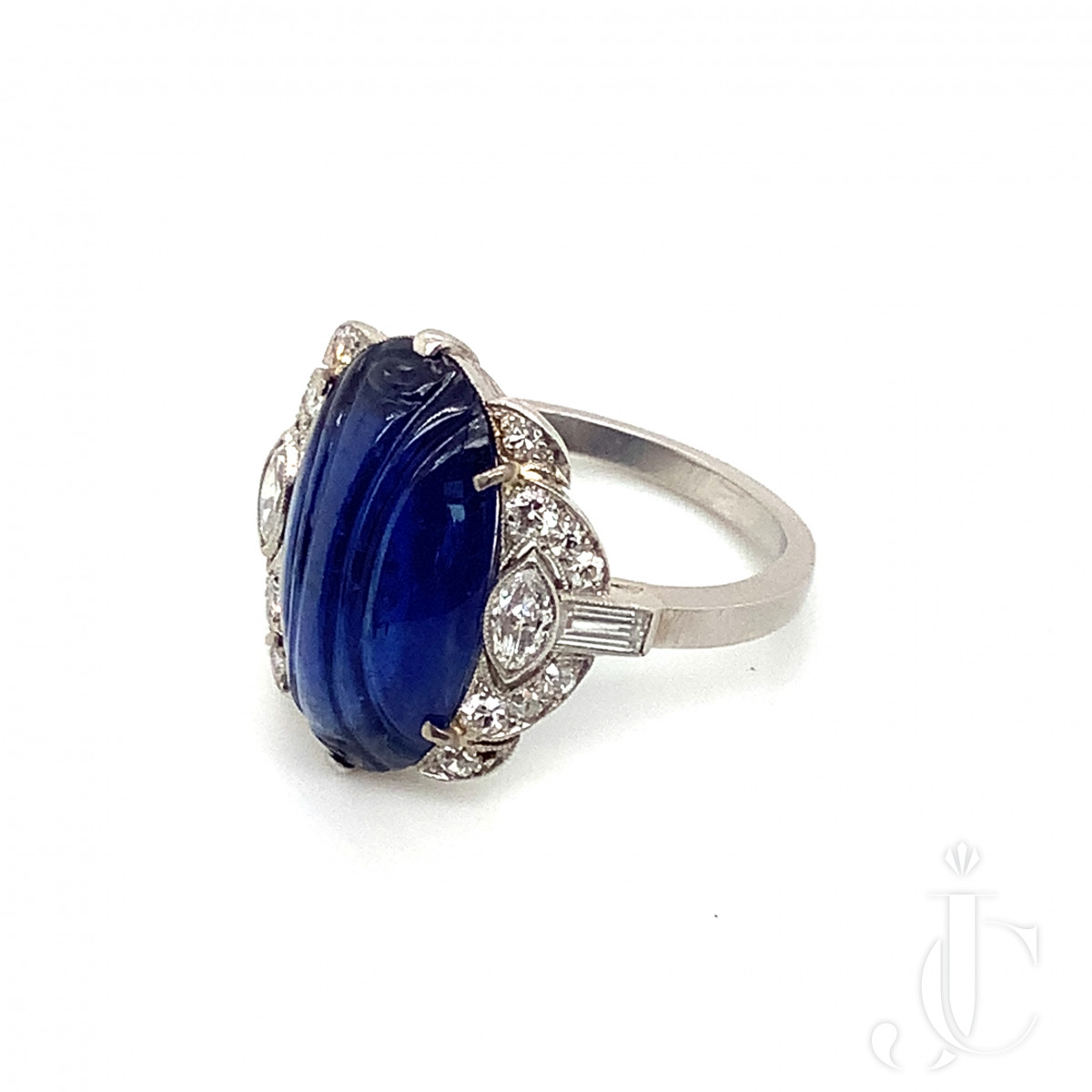 Art Deco Carved Sapphire and Diamond Ring