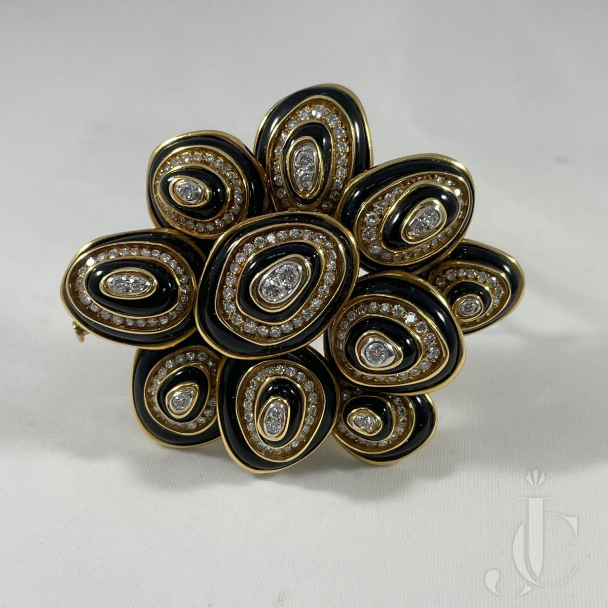 Bulgari 18kt black enamel and diamond brooch