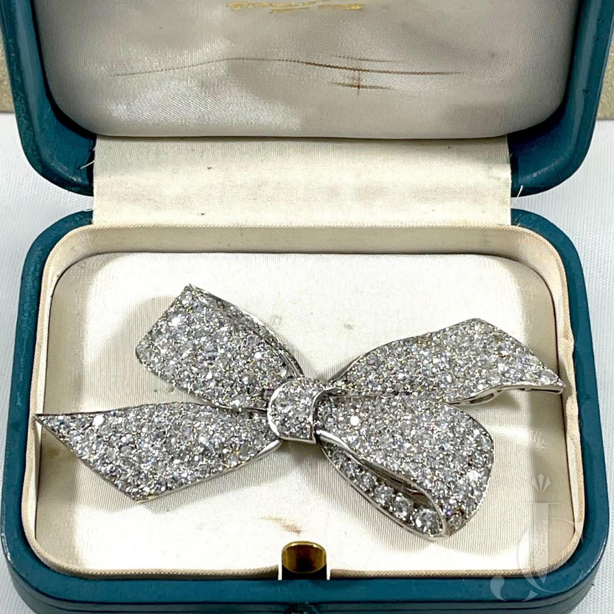 Tiffany and Co. Art Deco platinum and diamond bow pin