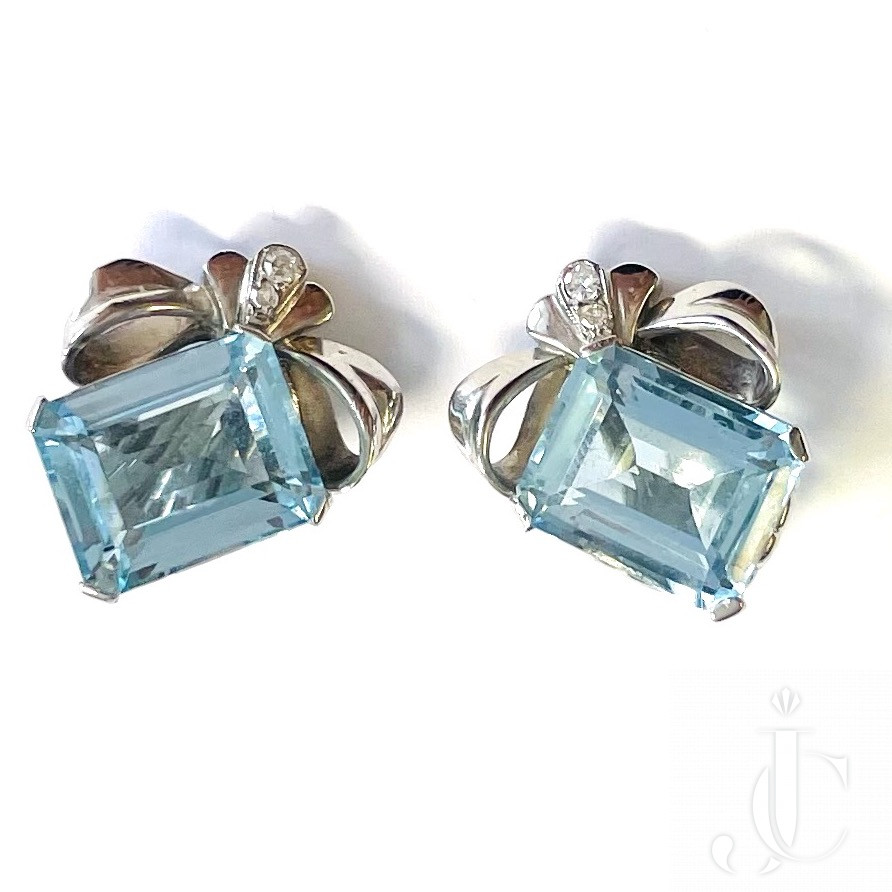 Aquamarine Ear Clips