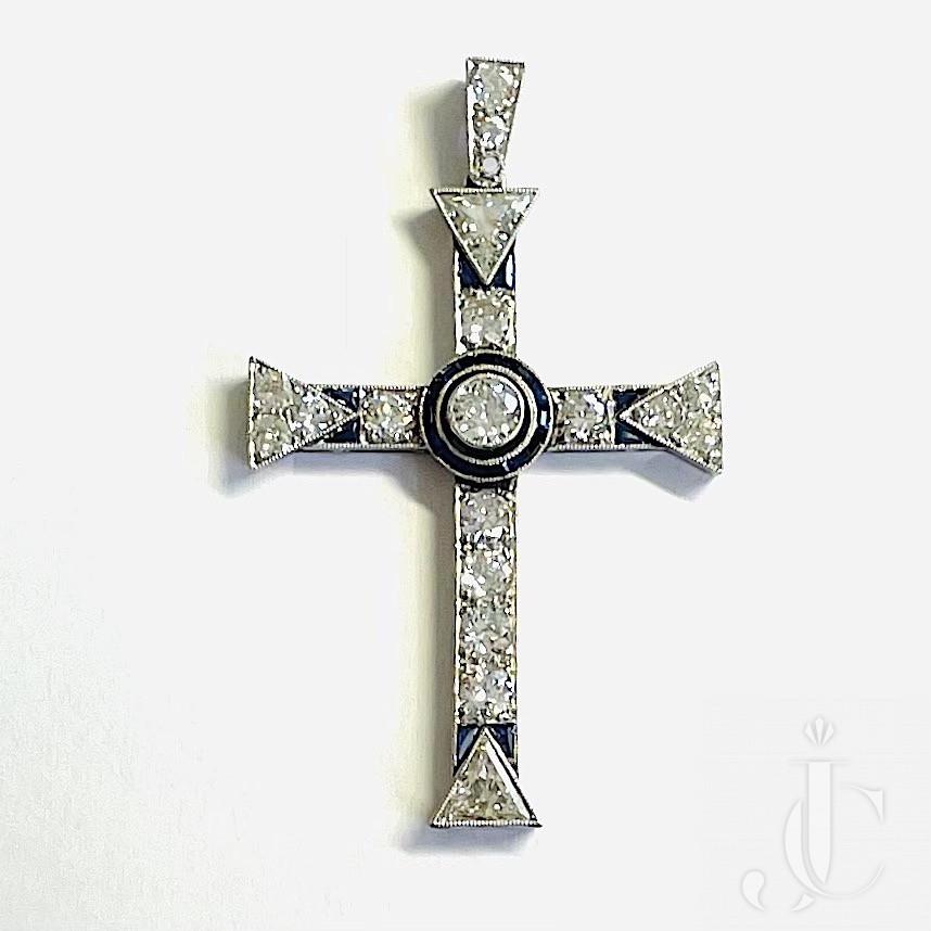 Diamond Sapphire Cross Pendant