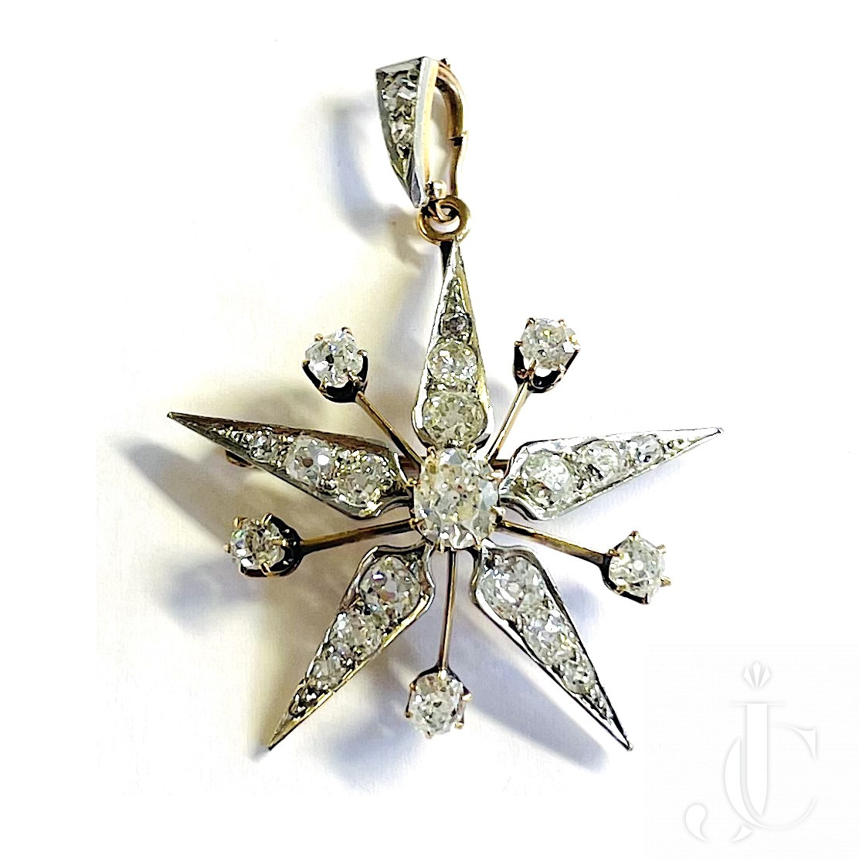 Diamond Star Pendant / Brooch