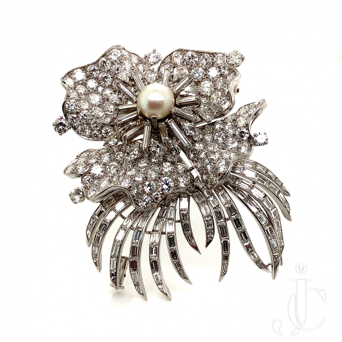 French Diamond and Pearl Brooch