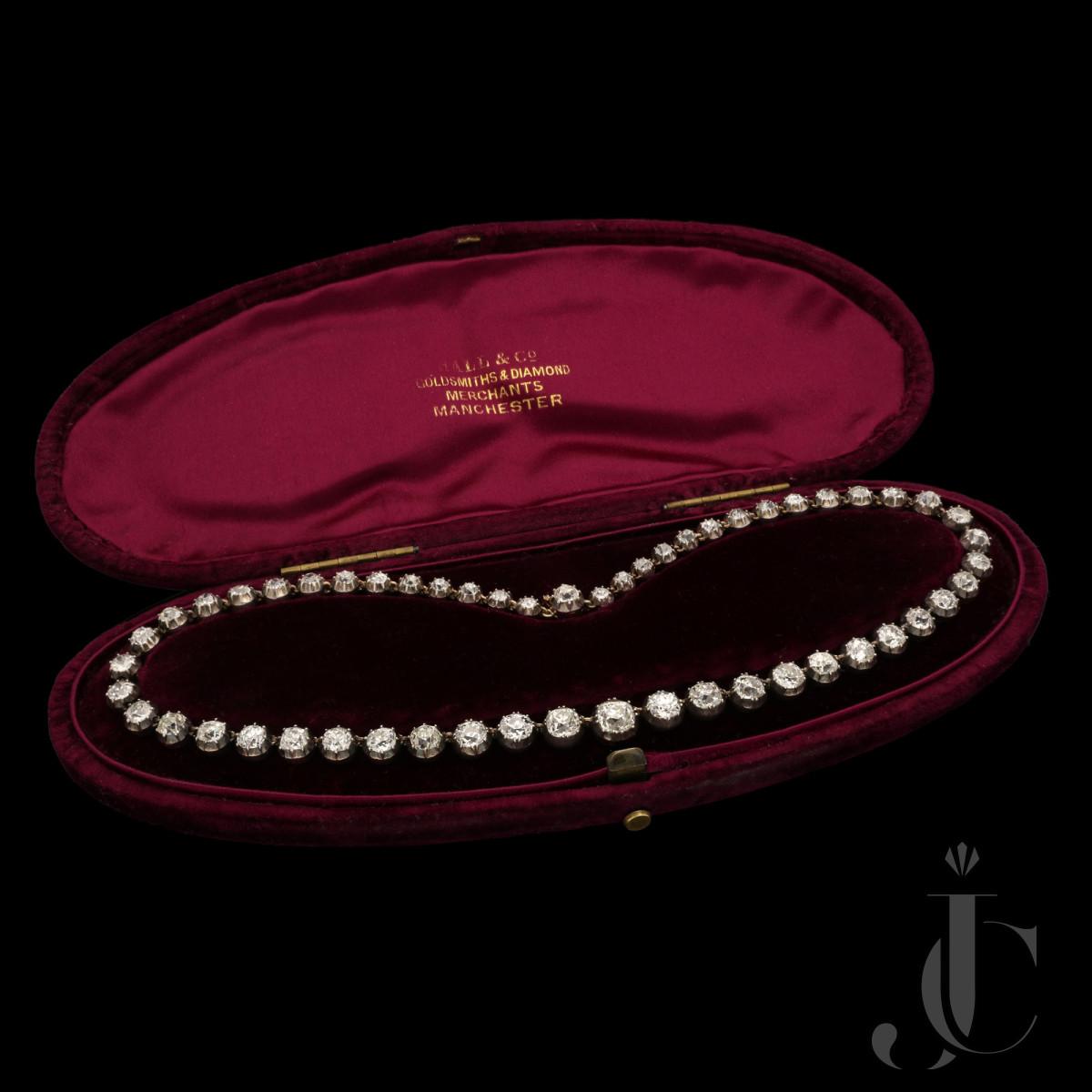 Victorian Diamond Riviere necklace est 23cts