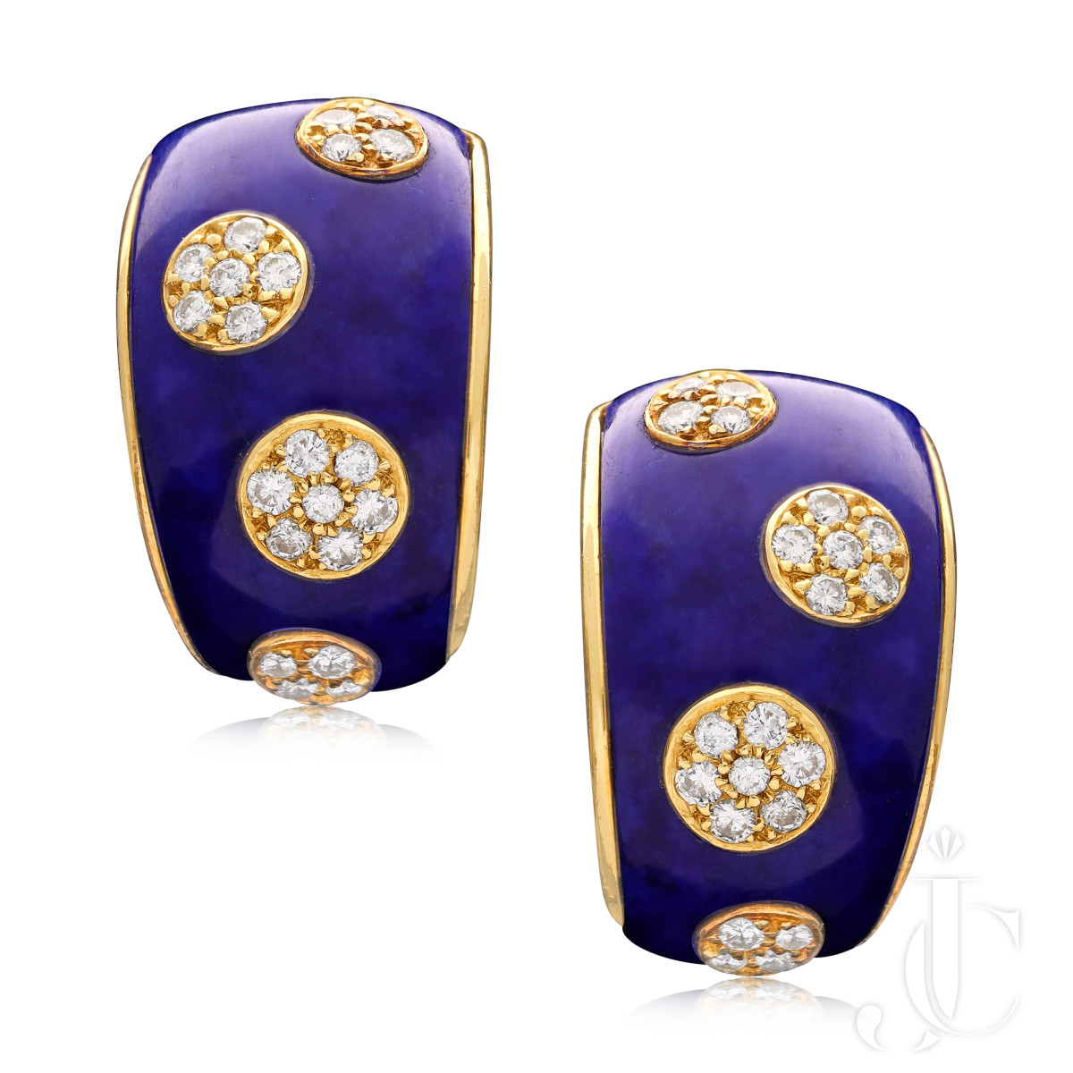 Van Cleef & Arpels Paris Diamond Lapis Gold Earrings circa 1970/80