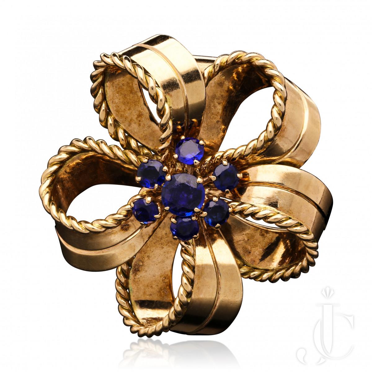 Cartier, London Retro Fine Sapphire 18ct Gold Bow clip brooch c.1940/50