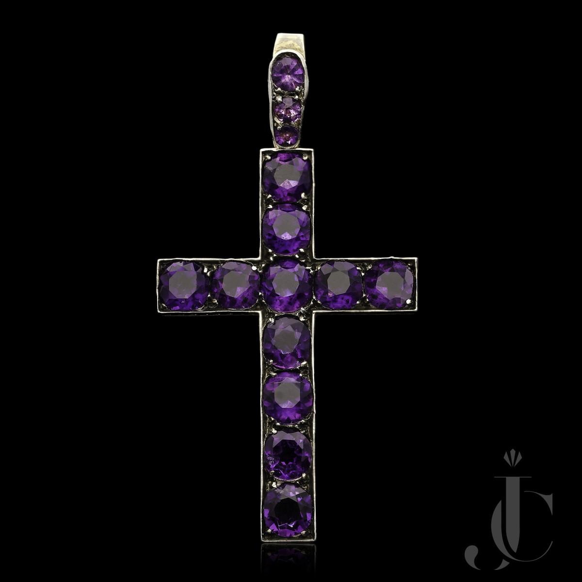 Victorian Fine Amethyst sliver/gold Cross