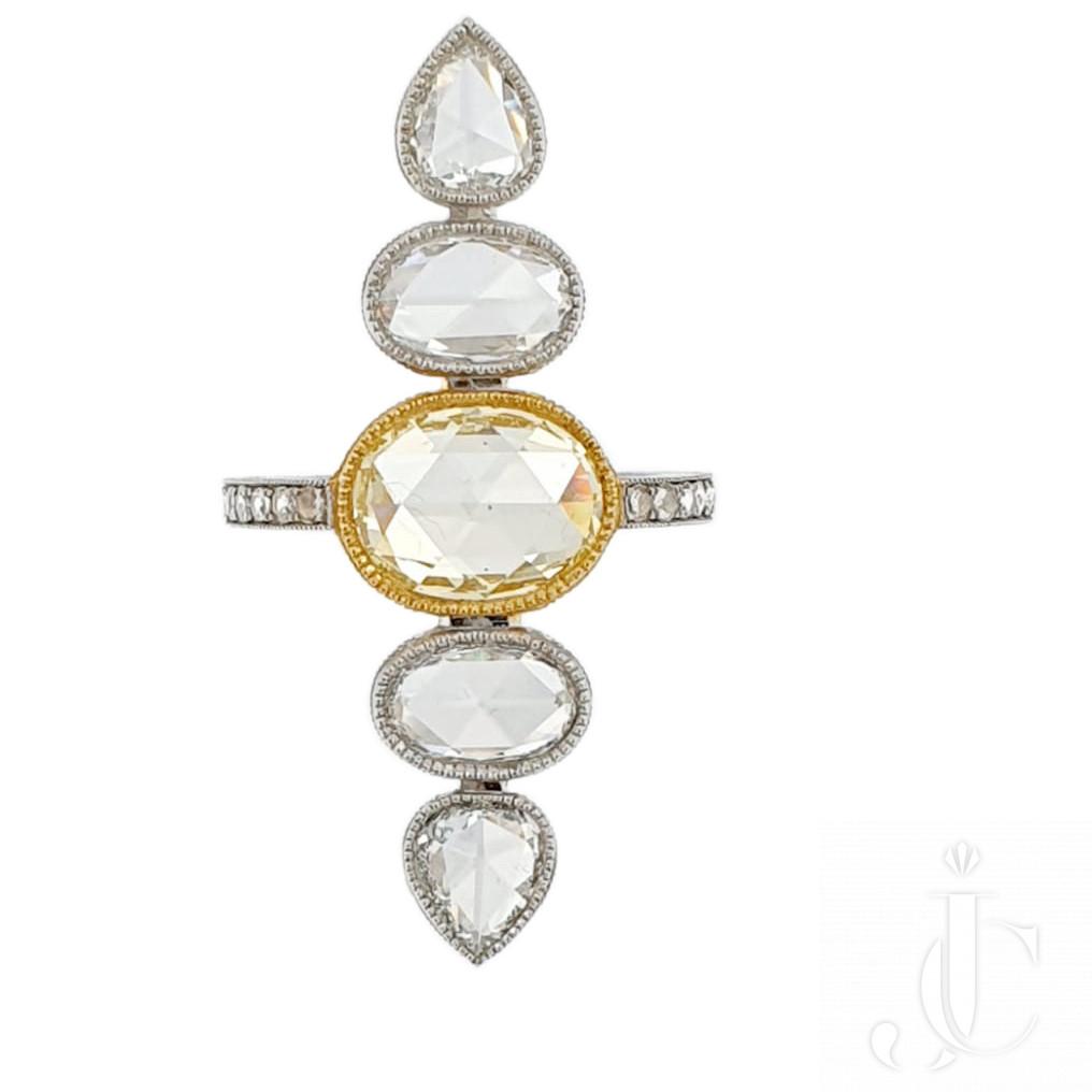 Fancy Yellow Rose Cut Ring