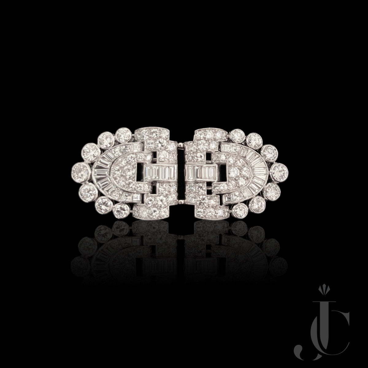 Platinum Art Deco Diamond Double Clips Brooch, French