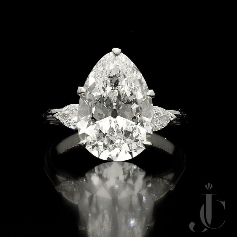 5.38ct F VS2 Old Mine Pear Shape Diamond solitaire ring