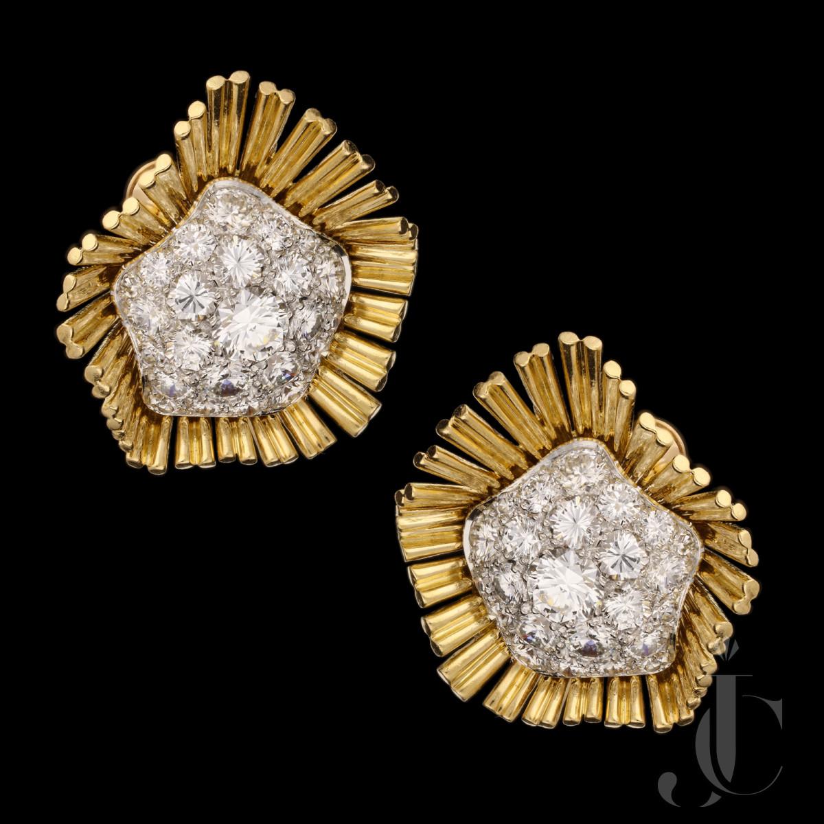 Cartier - Retro Gold & Pave Diamond Earrings c.1950s