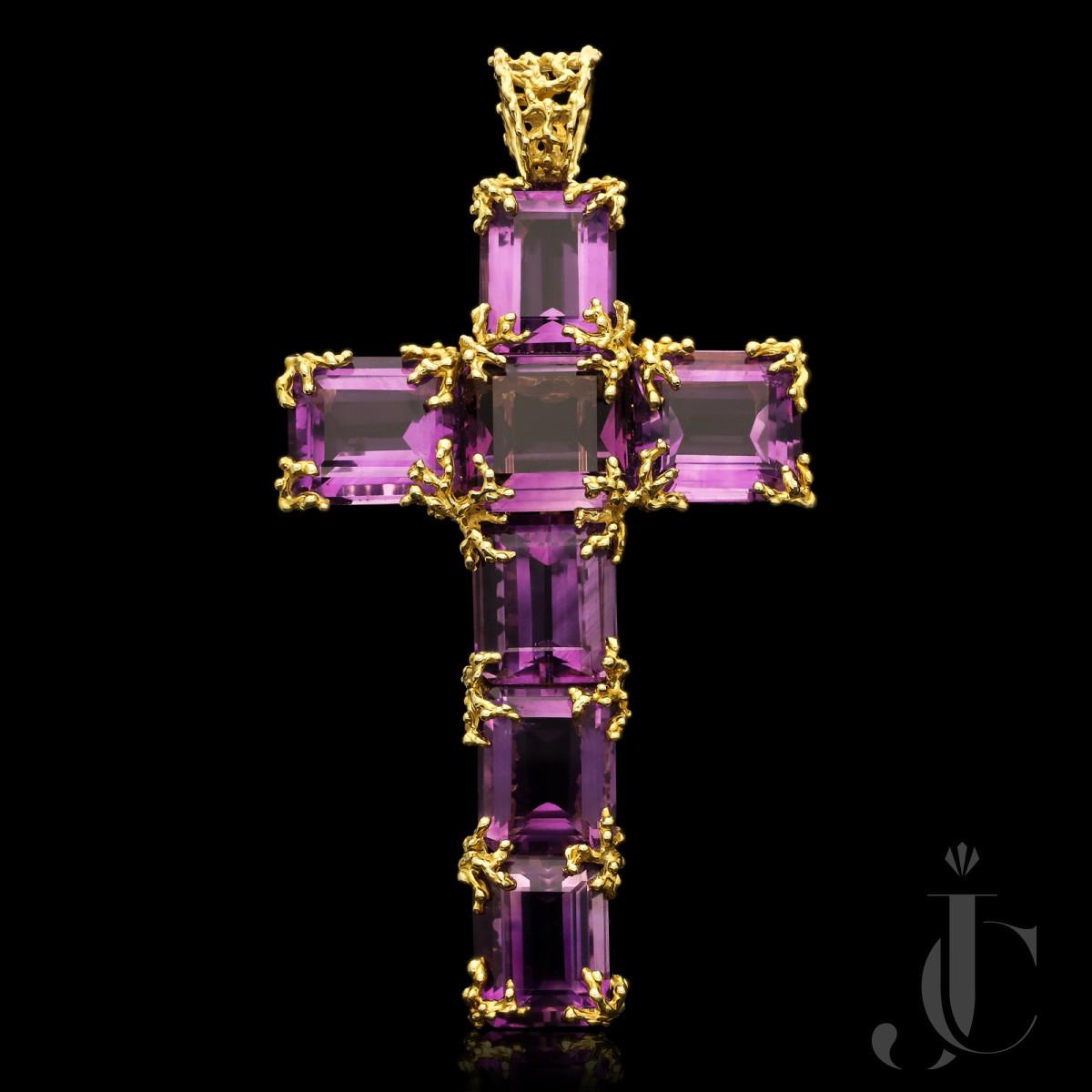 Barbara Anton - Large Amethyst & 18k Gold Cross c.1970s