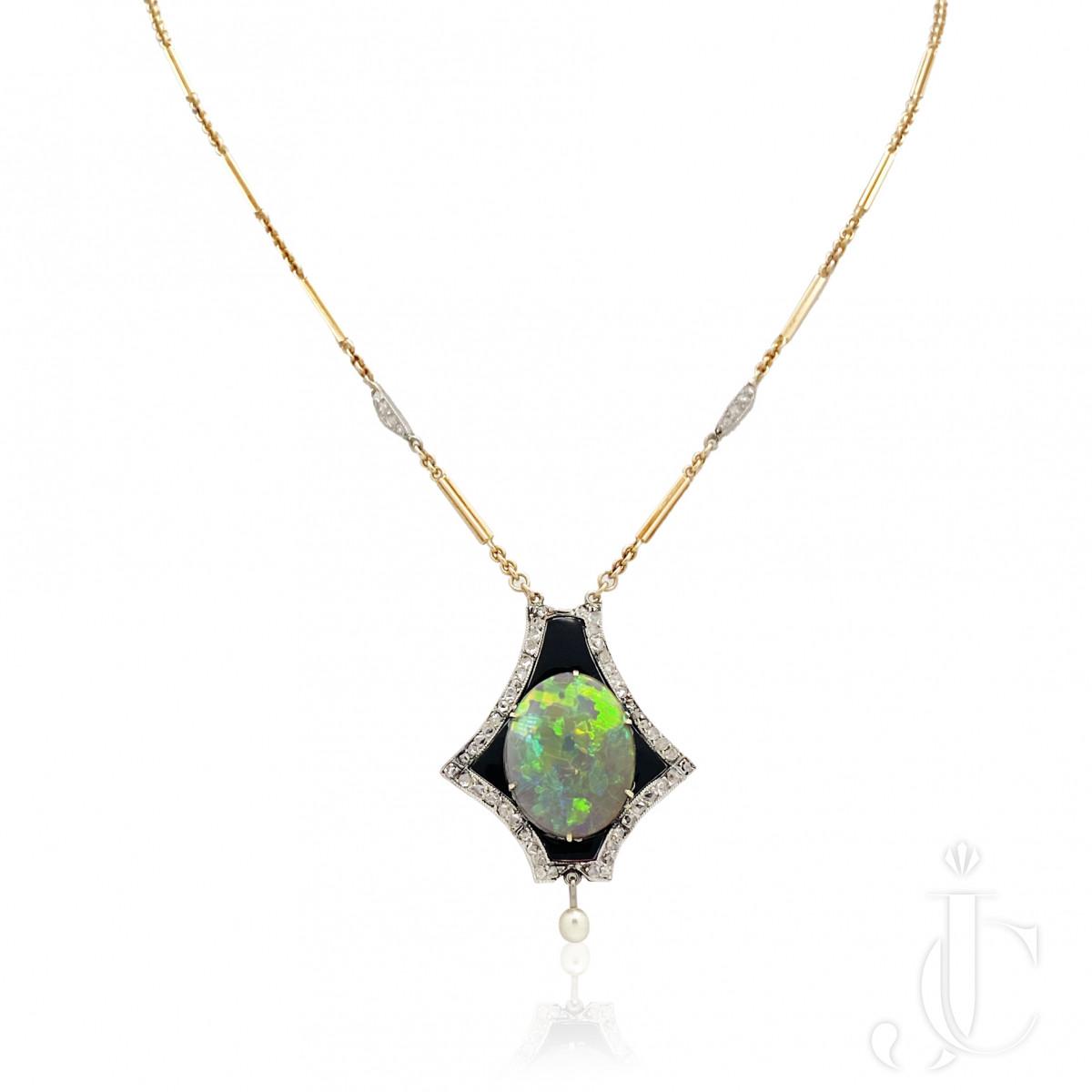 Charming, Arts & Crafts Opal Diamonds & Enamel Pearl Pendant