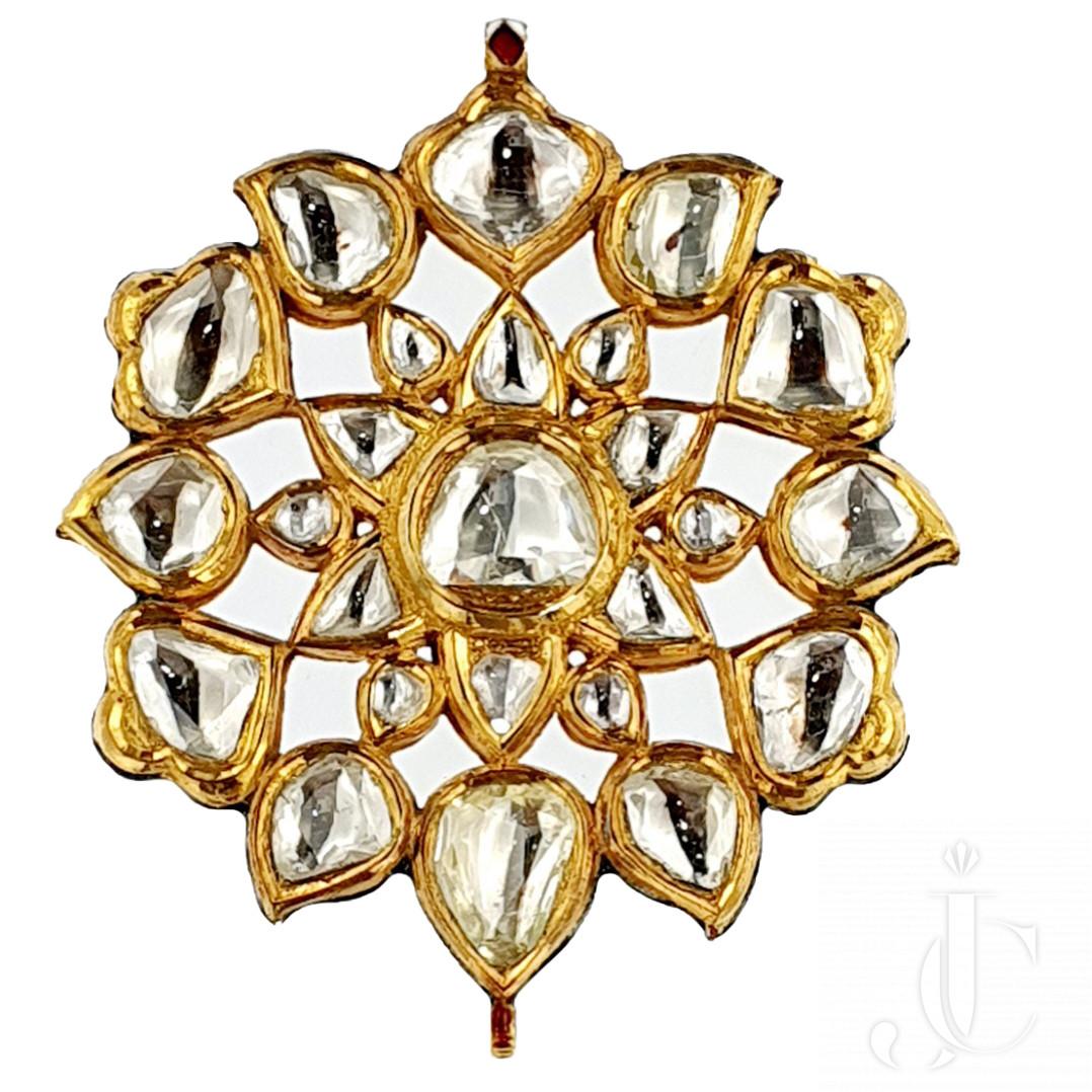 Mughal Inspired Rose Cut & Enamel Pendant