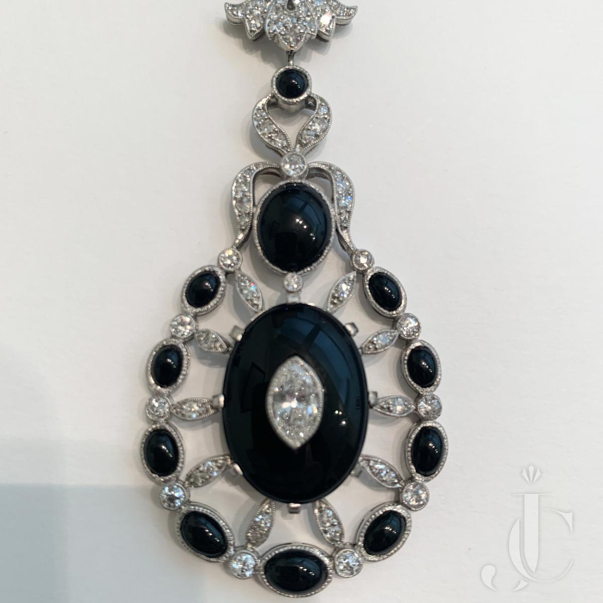 onyx and diamond necklace