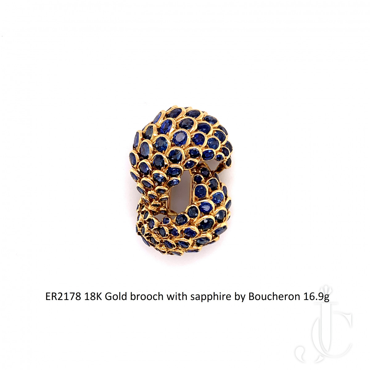 French 18K Gold brooch with sapphire by Boucheron