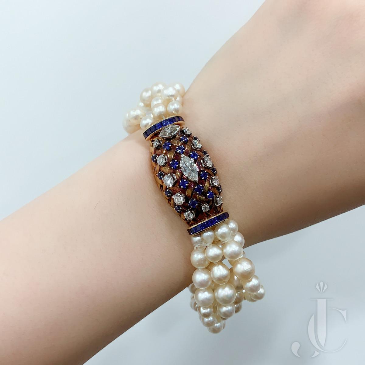 18k gold, sapphire, diamond and pearl bracelet by René Boivin