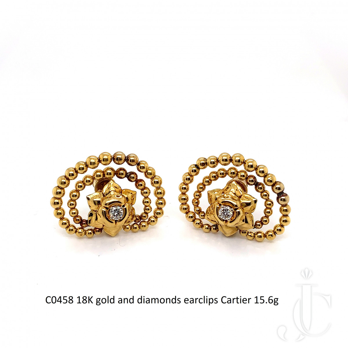 18K gold and diamonds earclips Cartier