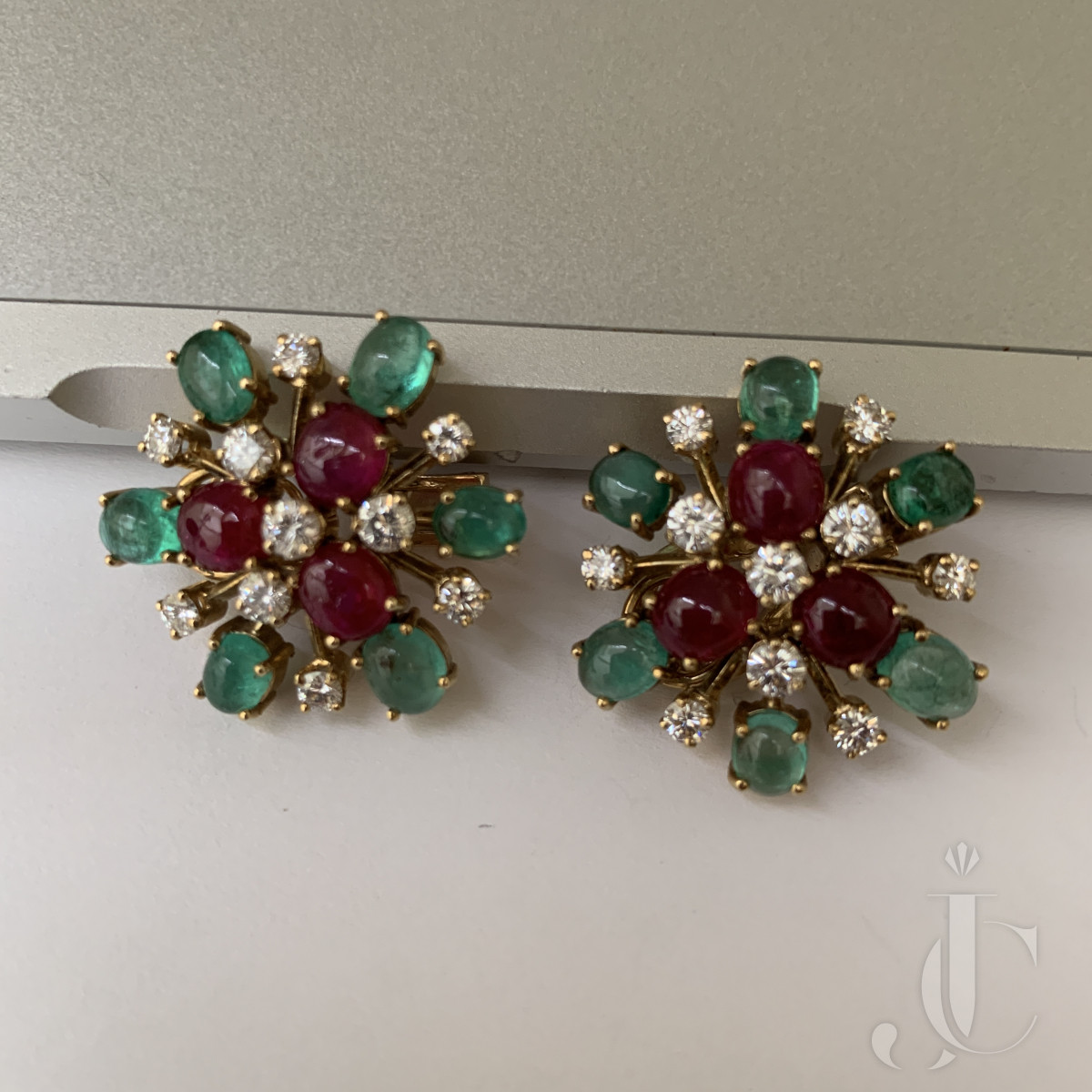 Bvlgari ruby , emerald and diamond earrings C1960