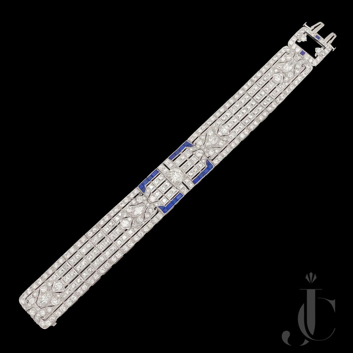 Platinum Art Deco  French Cut Diamonds and Sapphires Bracelet