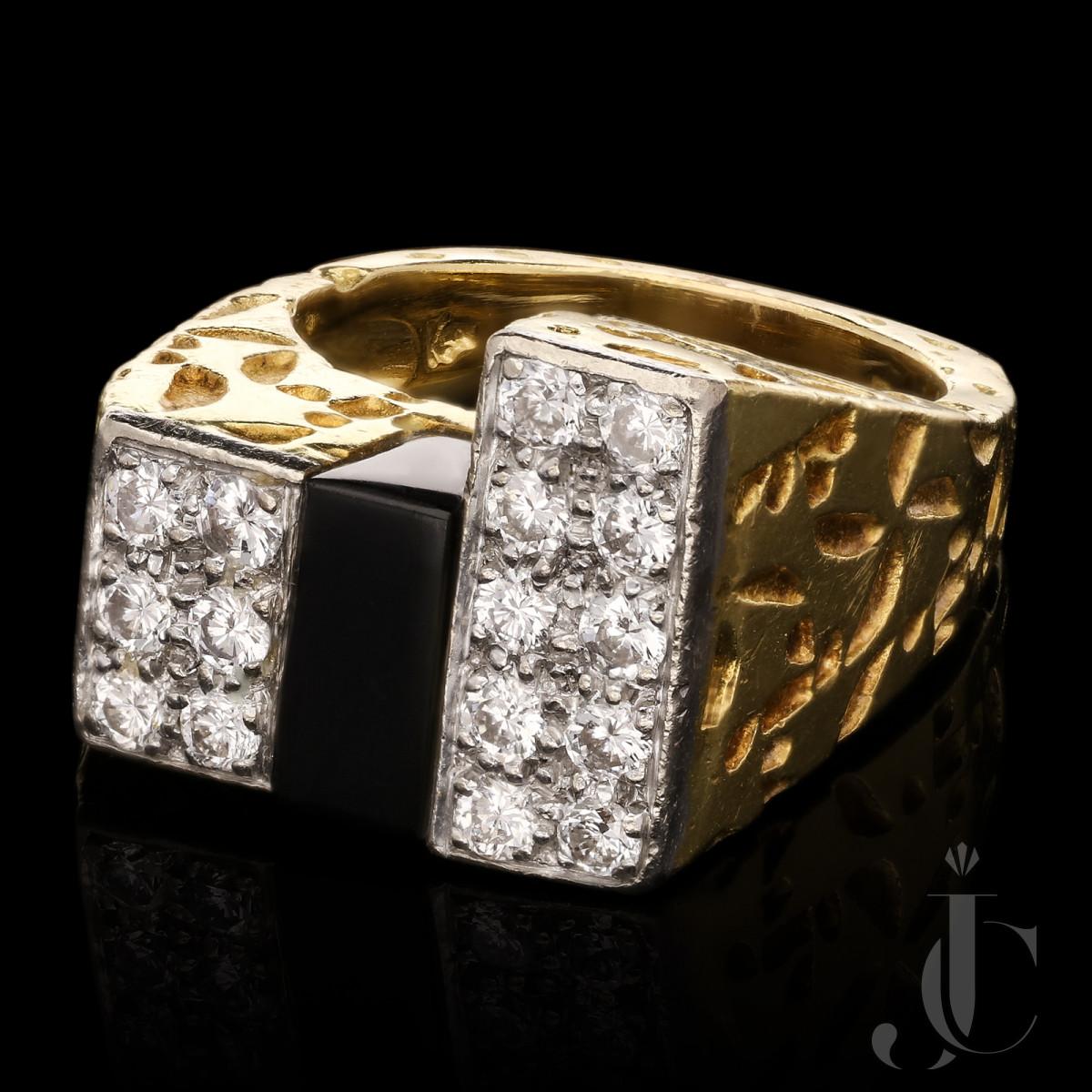 Kutchinsky - Modernist Onyz/Diamond ring 1973