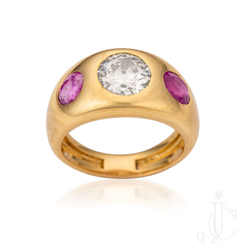 Bulgari diamond and ruby gold ring