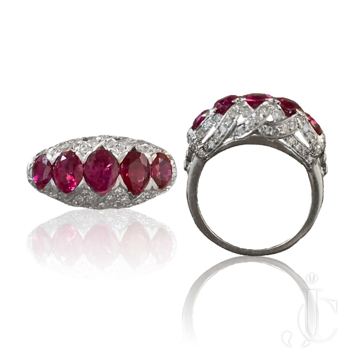 5 Stone No Heat Burma Ruby Diamond Ring
