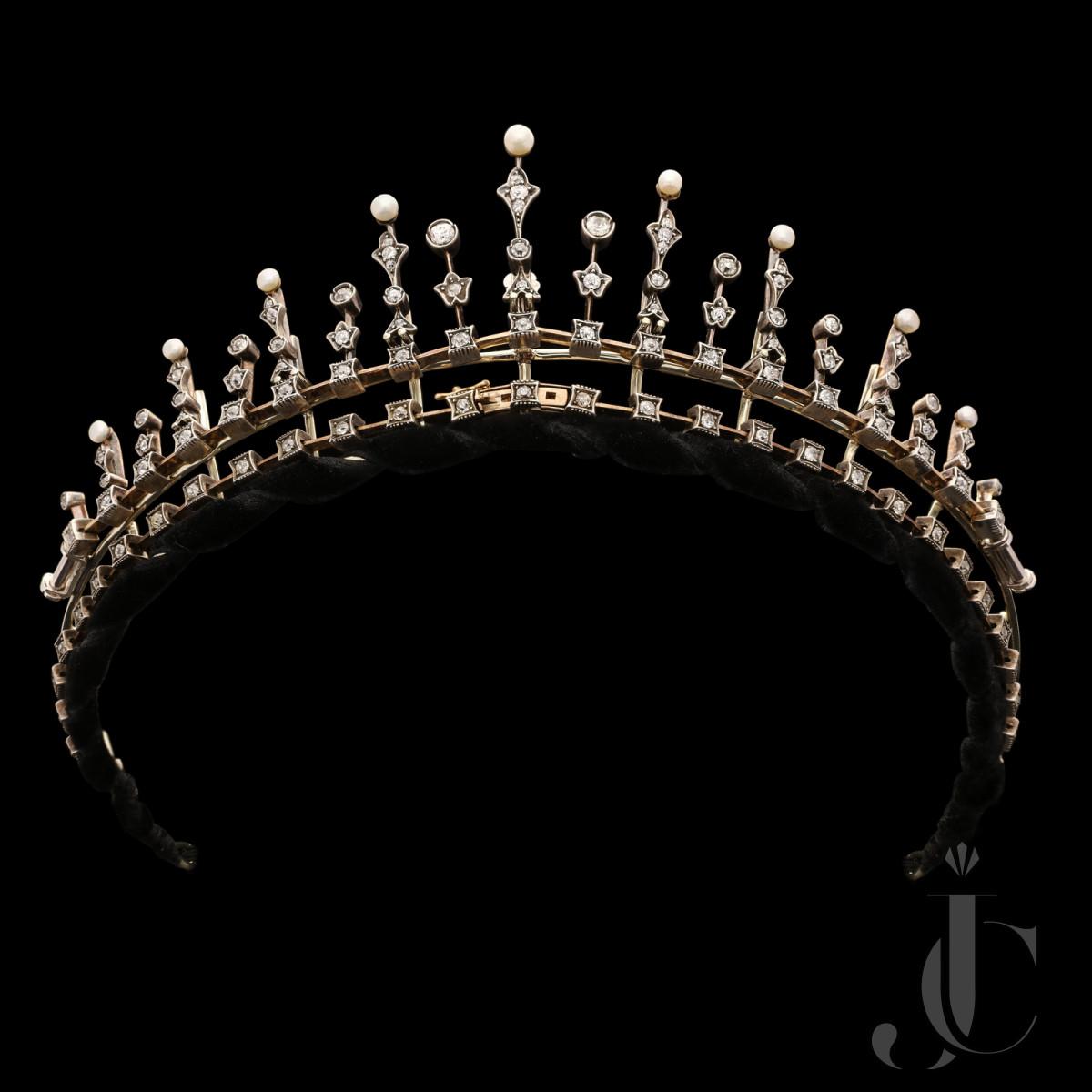 Victorian Pearl/Diamond Tiara/Necklace